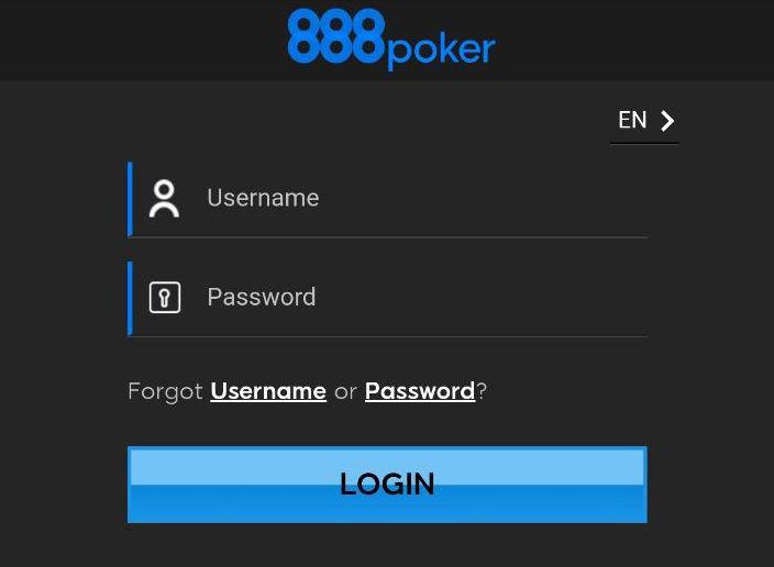Авторизация в мобильном лобби клиента 888poker.